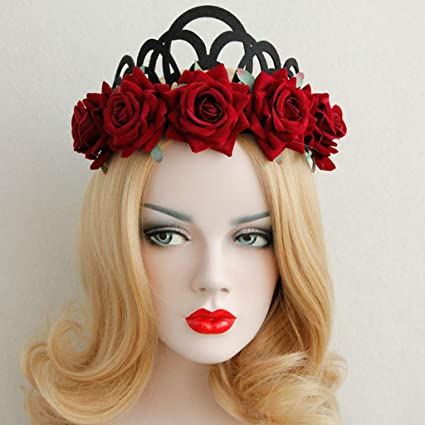 ea stone womens vintage roes flower crown headband for halloween party garland queen hairband