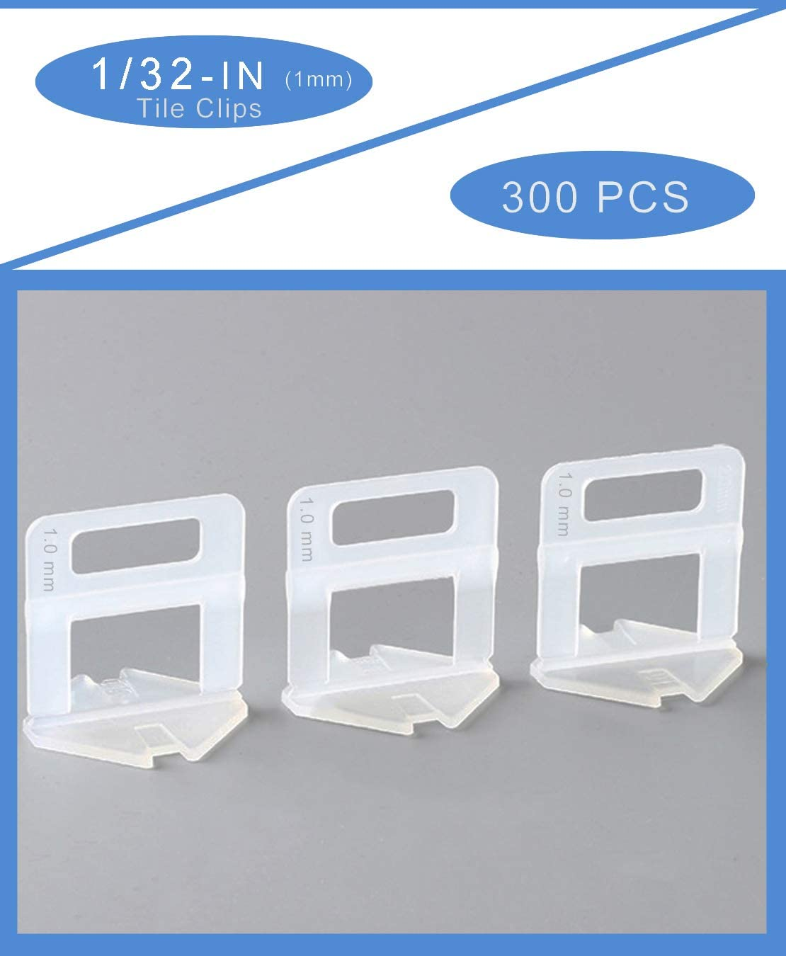 Aizami Tile Leveling System with Tile Clips for Floor Leveler Installation(Non-reusable,300 Pcs,1//8 3.0 mm)