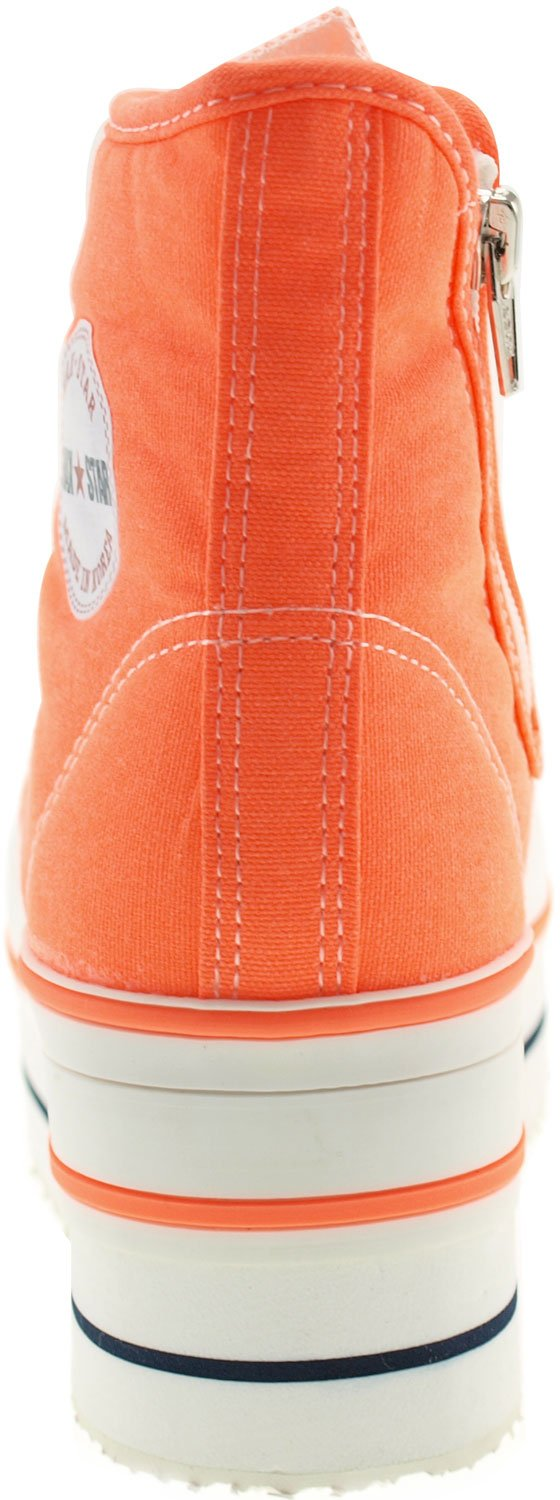 CN9 8 Holes Double Platform Denim Studed Sneakers Taller Insole High Top Sneakers Studed B00CLM7DB4 8 B(M) US|Neon Orange 7bd98c