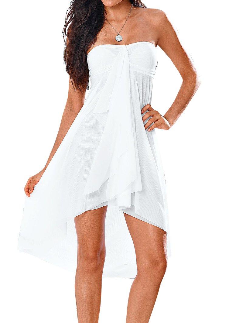 Upopby Women's Mesh Swimsuit Cover up Bikini Sarong Strapless Dress Midi Skirt Beach Coverup Dress White XXL