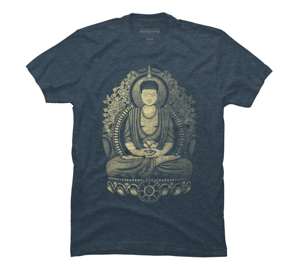 Design By Humans Gautama Buddha Weathered Men's X-Large Slate Blue Heather Graphic T Shirt