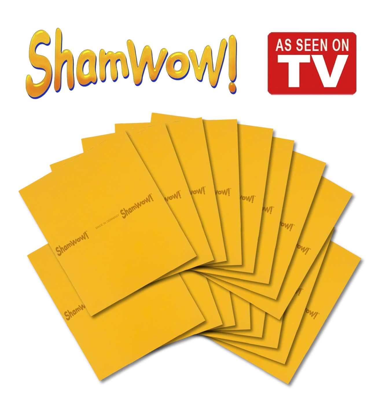 The Original Shamwow - Super Absorbent Multi-Purpose Cleaning Shammy (Chamois) Towel Cloth, Machine Washable, Will Not Scratch, Orange (16 Pack)