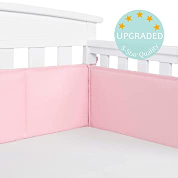 TILLYOU Baby Breathable Crib Bumper Pads for Standard Cribs Machine Washable Padded Crib Liner 100/% Silky Soft Microfiber Polyester,4 Piece//Gray Elephant