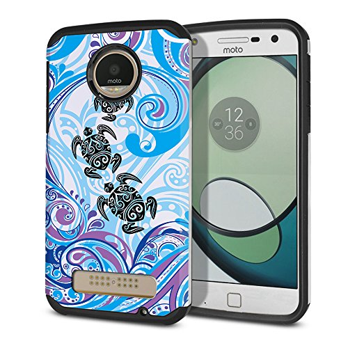 FINCIBO Case Compatible with Motorola Moto Z Play 2016 Droid XT1635, Dual Layer Hard Back Hybrid Protector Case Cover Anti Shock TPU for Moto Z Play (NOT FIT Z Force) - Turtle with Blue Swirl