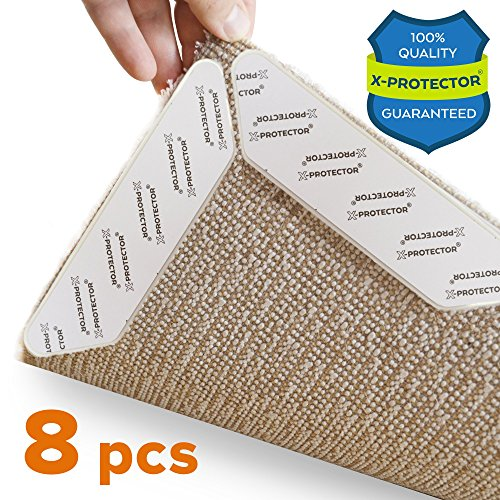 X-Protector Rug Grippers Best 8 pcs Anti Curling Rug Gripper. Keeps Your Rug in Place & Makes Corners Flat. Premium Carpet Gripper with Renewable Gripper Tape -Ideal Anti Slip Rug Pad for Your Rugs