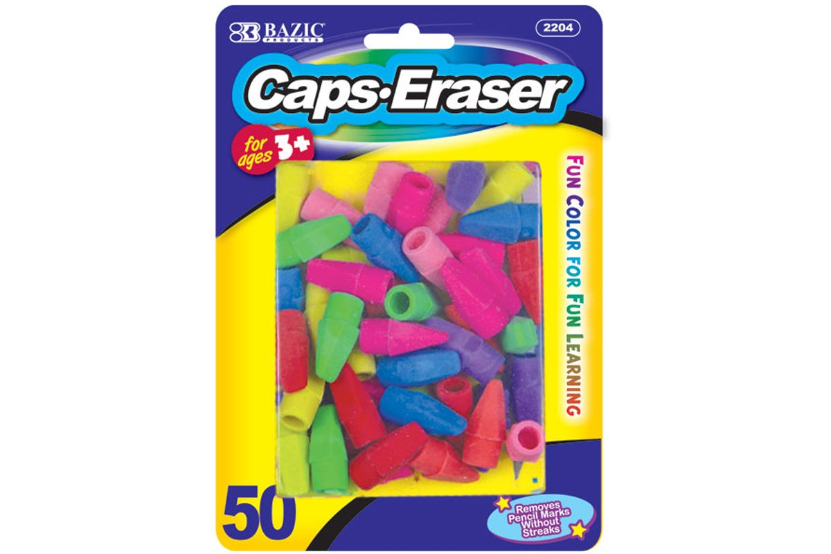 Eraser Top (Neon Assorted) - 50/ Pack (Pack of 12) by BAZIC (Image #1)