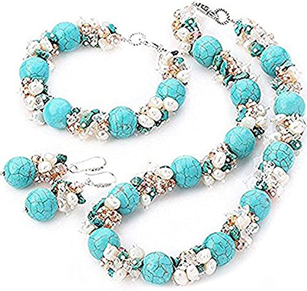 TreasureBay-Juego de collar, pulsera y pendientes de perlas de agua dulce, perlas de cristal y piedras preciosas de turquesa