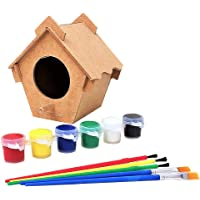 DIY Bird House Painting Kit with Ready to Use 6 Colours Acrylic Paints and 5 Brushes Build and Decorate Bird House or…
