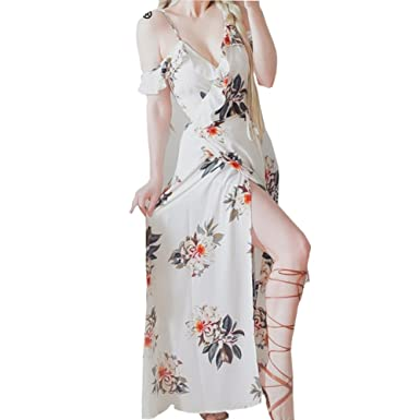 Simplee Floral print ruffles chiffon long dress Women strap v neck split beach summer dress Sexy
