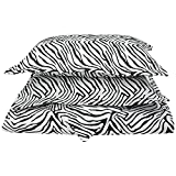 1800 Series 100% Brushed Microfiber, Deep Pocket, Wrinkle Resistant 3-Piece Full/Queen Duvet Cover Set, Animal Print, Zebra