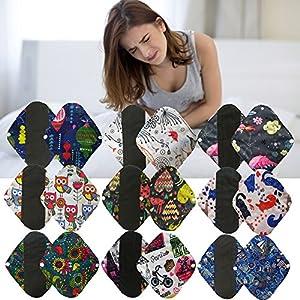 2 Pcs Set Bamboo Cotton Floral Reusable Sanitary Napkins Pads Cloth Menstrual Pads Washable Menstrual Towel Pad for Women Girls