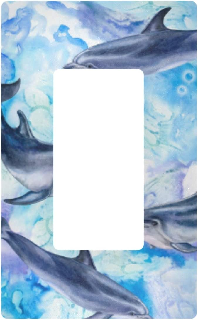 Triple Gang Rocker Switch Plate - Sea Blue Dolphins Life Light Outlet Wall Plate Decorator Plate Cover 6.5