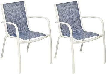 Proloisirs Fauteuil Linea en aluminium et textilène jean\'s (Lot de 2 ...