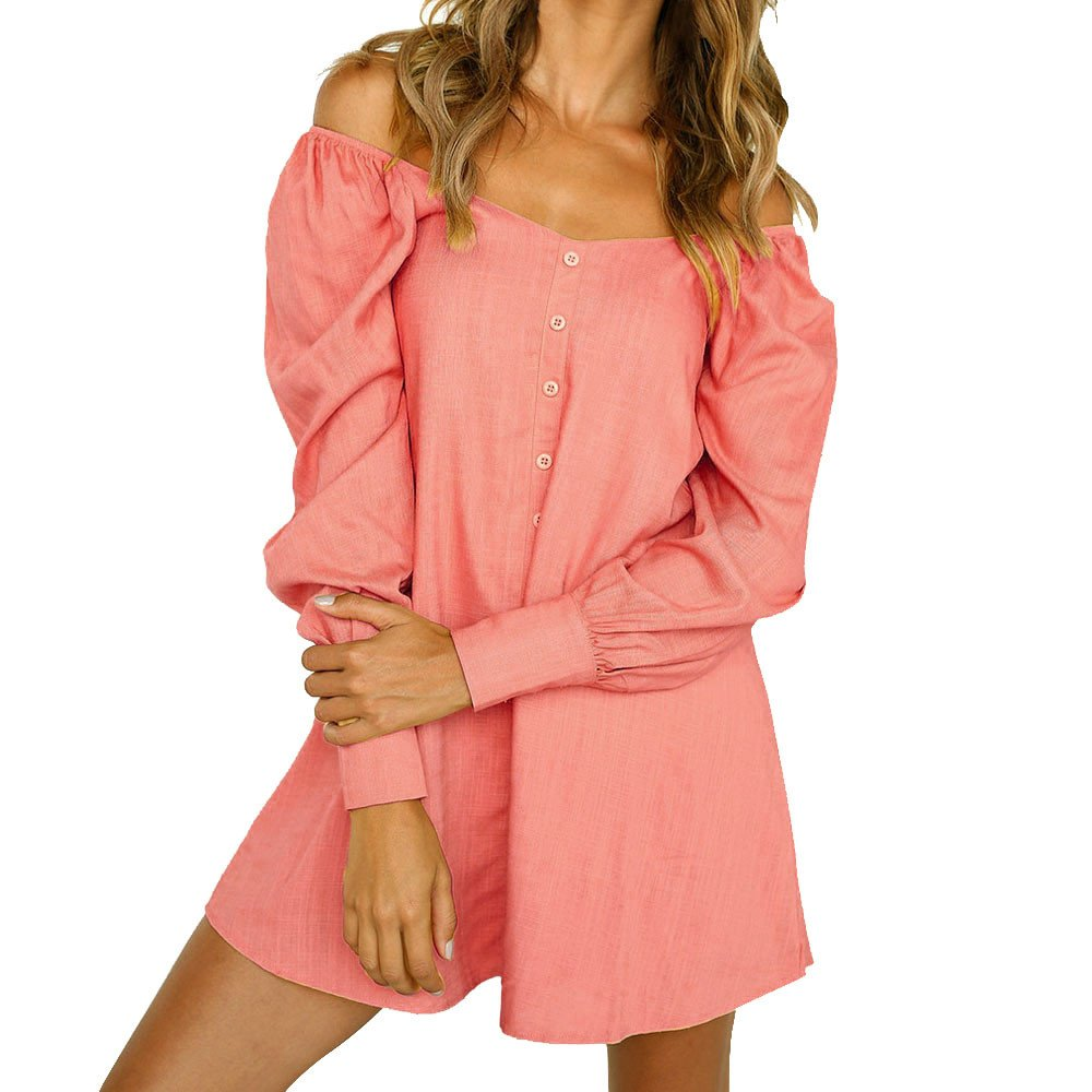 Overmal Womens Ladies Long Sleeve Off Shoulder Loose Button Short Mini Dress