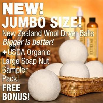 NaturOli JUMBO Wool Dryer Balls 3-PACK - AND Laundry Soap - USDA Organic Soap Nuts/Soap Berry Sampler (23+ Loads)