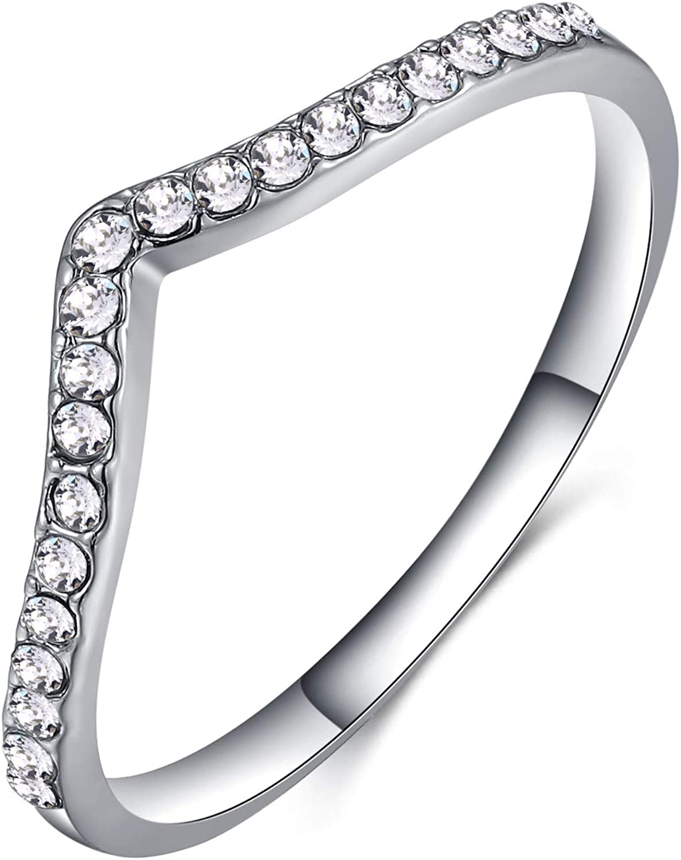 Shefashion 2 Pcs 18k Gold Plated Chevron Thumb Ring Crystal Stackable Midi Rings Wedding Bands Rose Gold and Silver Tone