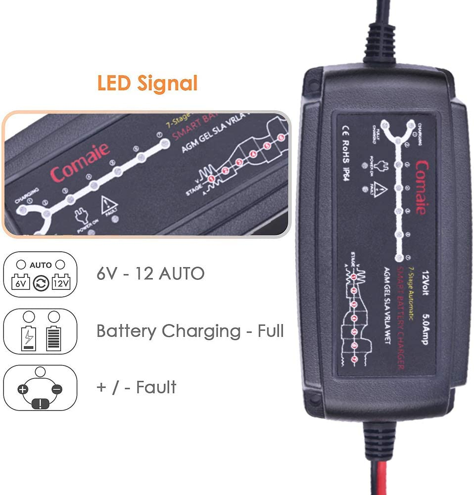 careslong 12/V 5/a Fast Car Battery Charger Maintainer Ultra-Safe Smart 7-Stage Automatico Spina UK Tasse, Mantiene, diagnosi e Reconditions Auto e Moto batterie