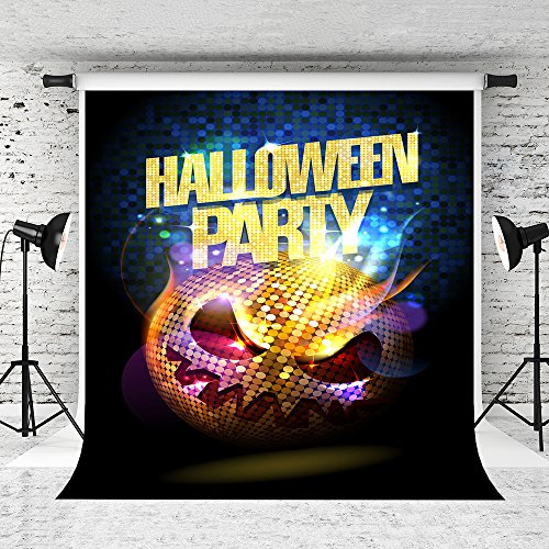 Little Lucky 5x7ft Halloween Backdrops Glitter Skull Background for Happy Halloween Party Photo Studio Prop ()