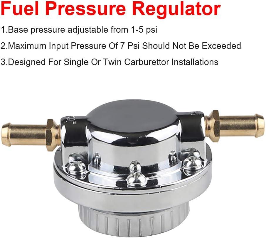 WATERWICH Fuel Pressure Regulator Kit Adjustable 1-5 PSI for Engine Carburetor Carb
