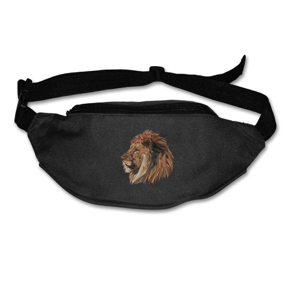 Unisex Waist Purse Lion Big Cat Head Logo Fanny Pocket Adjustable Running Sport Waist Bags Black