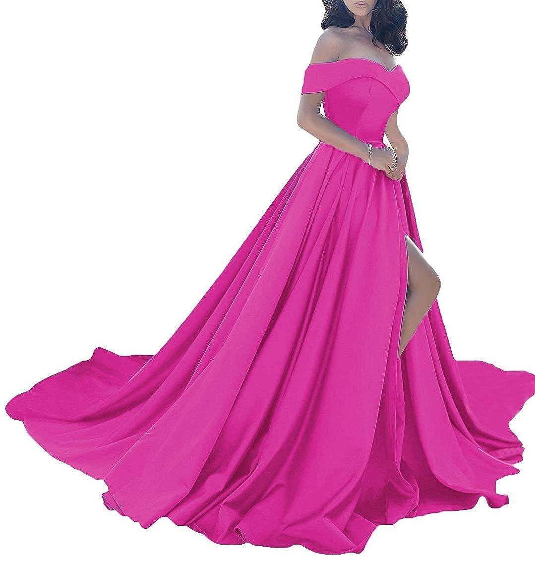 Fuchsia MorySong Women Elegant Off The Shoulder Prom Dress Side Split Long Evening Gown