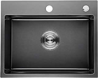 Auralum - Lavelli da Cucina in Acciaio Inox Spazzolato Vasca Singola (58 x 43 x 21 cm)