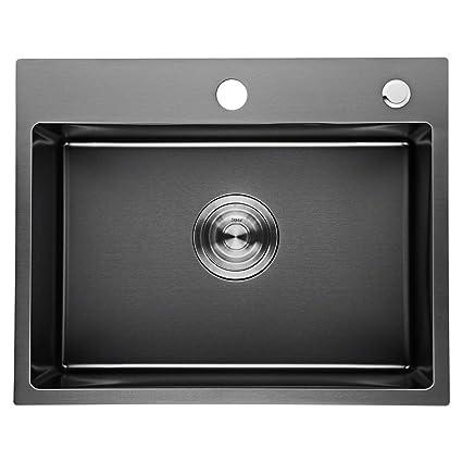 Auralum - Fregadero de Un Seno para Cocina (50 x 40 x 22 cm) de Acero Inoxidable Gris Oscuro | Fregaderos de Cocina Acero con Escurridor y Orificio de ...