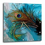 3dRose dpp_60467_2 Abstract Peacock Feather Wall Clock, 13 by 13-Inch For Sale