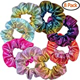 Shiny Metallic Scrunchies, BETITETO Women Girls Mermaid Hair Scrunchie Elastics Ponytail Holder for Gym Dance Party Club, Set of 8