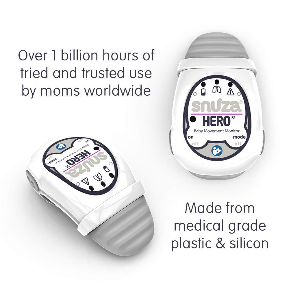 Snuza Hero (SE) Premium Baby Movement Monitor - Wearable Infant Abdominal Movement Monitor Alarm - Cordless, Long Battery Life - New Color 2019 - (Gray) by Snuza (Image #3)