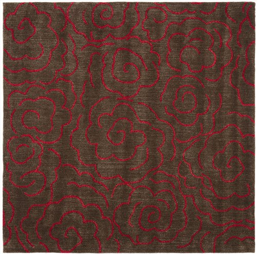 6' x 6' Square Safavieh Area Rug SOH812D-6SQ Chocolate/Red Color Hand Tufted India ''Soho Collection'' by Safavieh