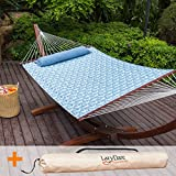 Lazy Daze Hammocks 55inch Quilted Fabric Hammock With Pillow and Carrying Bag Double Size Spreader Bar Heavy Duty Stylish,Palm Bay Light Blue For Sale