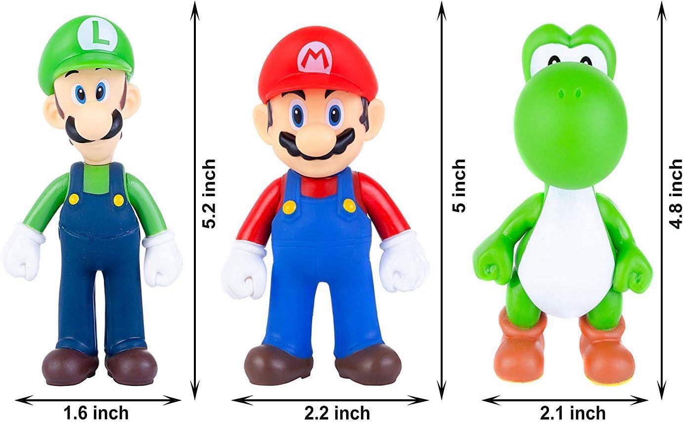 """Super Mario Brothers Luigi Yoshi 5/"""" Action Figure Collection Gâteau Décoration Ensemble"""