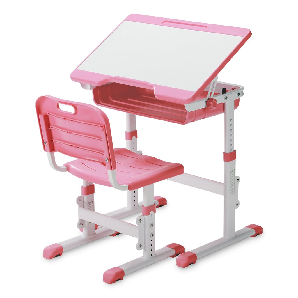 SLYPNOS Ergonomic Adjustable Children's Desk and Comfortable Chair Set Specially Designed for Children Age 3-14, Blue 170807-M4