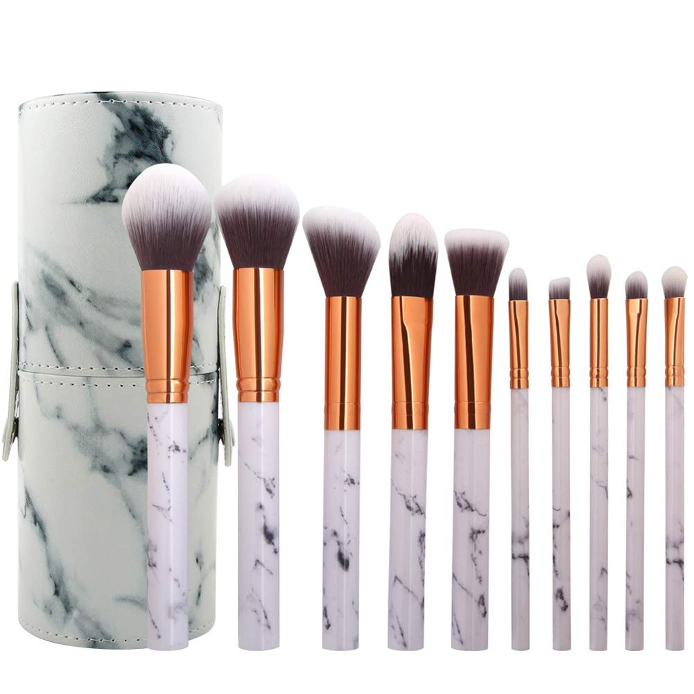 10Pcs Marble Makeup Brushes Beauty Professional Cosmetic Unique Style Kabuki Brush Set Foundation Brush Powder Brush Eyeshadow Brushes with PU Leather Bucket Greatlizard (A1)
