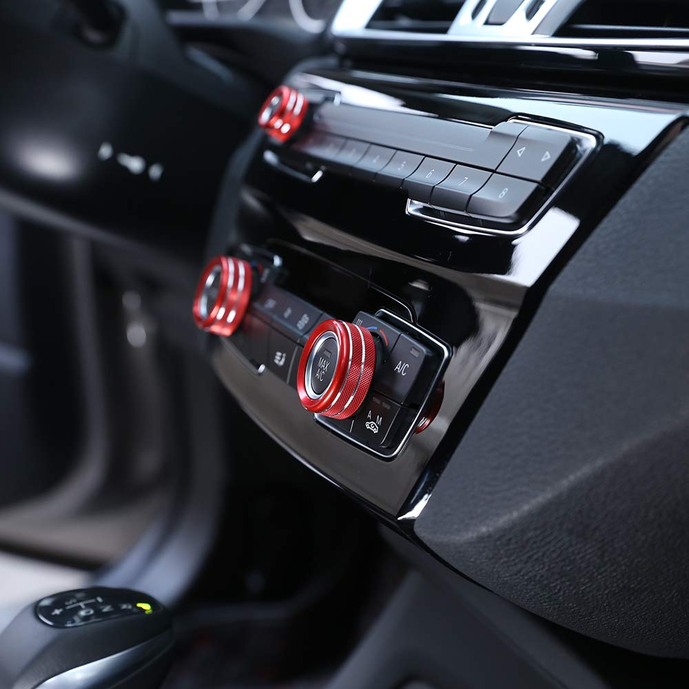 3pcs Red Aluminum Alloy AC Climate Control Radio Volume Knob Ring Covers Compatible with 11-16 BMW F10 F11 F07 5 Series 5GT 08-15 F01 F02 7 Series 13-18 F30 F31 F80 3 Series 3GT