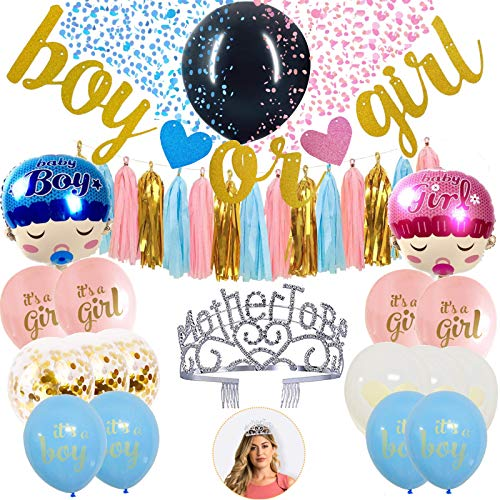 Gender Reveal Balloon Set for Boy & Girl Gender Reveal Party Supplies + Metal Mother to Be Silver Tiara Hearts Crown/Sparkling Rhinestones for Gender Reveal Decorations & Boy or Girl Baby Shower-26PCS