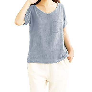95f7a802 Amazon.com: Xinantime Women's Cotton and Linen Short-Sleeved top, Casual  and Comfortable Linen Round Neck Solid Color T-Shirt top: Clothing