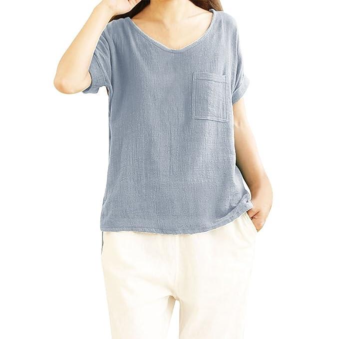 Camiseta de Verano para Mujer Camiseta Mujer Basicas Mujeres Damas Bolsillo de Manga Corta Camisetas de algodón y Lino Top Blusa: Amazon.es: Ropa y ...