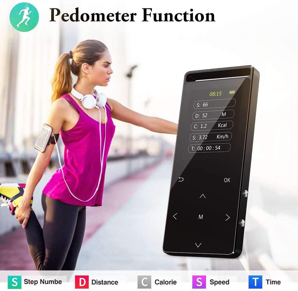 with Armband and Earphone Pedometer Black Expandable up to 128GB TF Card Voice Recorder 32GB MP3 Players with Bluetooth Hi-Fi Lossless Sound Music Player with FM Radio MP3 Players