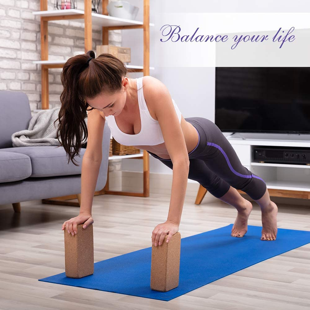 Arltb Yoga Blocks 2 Pack Cork Yoga Brick 9