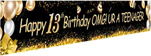 HOWAF Happy 13th Birthday Banner, Official Teenager Sign 13 Years Old Party Home Indoor Outdoor Decoration Teen Birthday Party Supplies Photo Prop Backdrop, 9X1.2 Feet