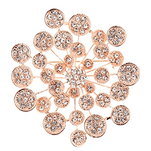 TS Elegant Fashion Jewelry Crystal Bling Silver Plated Brooch Pin (rose)