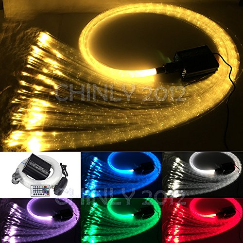 CHINLY 16W Remote RGBW fiber optic curtain light 300pcs 1.0mm flash point 9.8ft waterfall sensory light kit