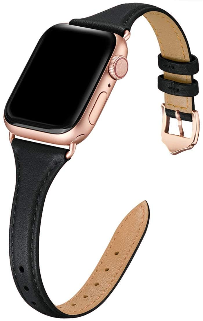WFEAGL Leather Bands Compatible with Apple Watch 38mm 40mm 42mm 44mm, Top Grain Leather Band Slim & Thin Replacement Wristband for iWatch SE & Series 6/5/4/3/2/1 (Black/RoseGold, 42mm 44mm )