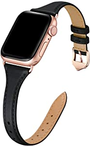 WFEAGL Leather Bands Compatible with Apple Watch 38mm 40mm 42mm 44mm, Top Grain Leather Band Slim & Thin Replacement Wristband for iWatch SE & Series 6/5/4/3/2/1 (Black/RoseGold, 38mm 40mm )