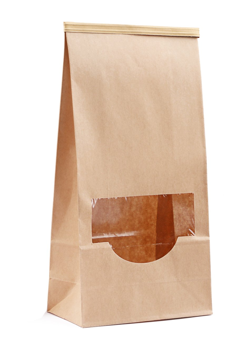 Katkitchen 25-Piece Stand up Kraft Paper Bakery Treat Bags, 9.3''x4.7''x2.4'' Resealable Food Storage Cookie Popcorn Bags Pouch Take Out Containers with Windows & Tin Tied Closure