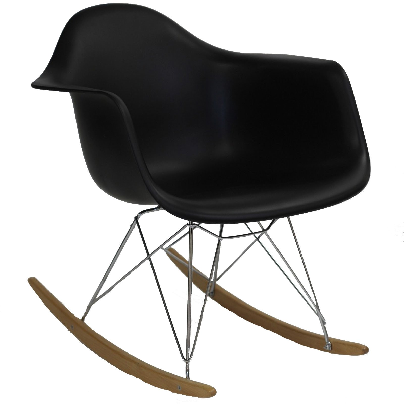 Modway Rocker Mid-Century Modern Molded Plastic Living Room Lounge Chair Rocker in Black by Modway