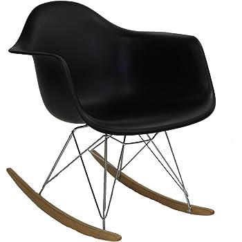 Modway EEI-147-BLK Rocker Molded Plastic Accent Lounge Chair Rocker Black