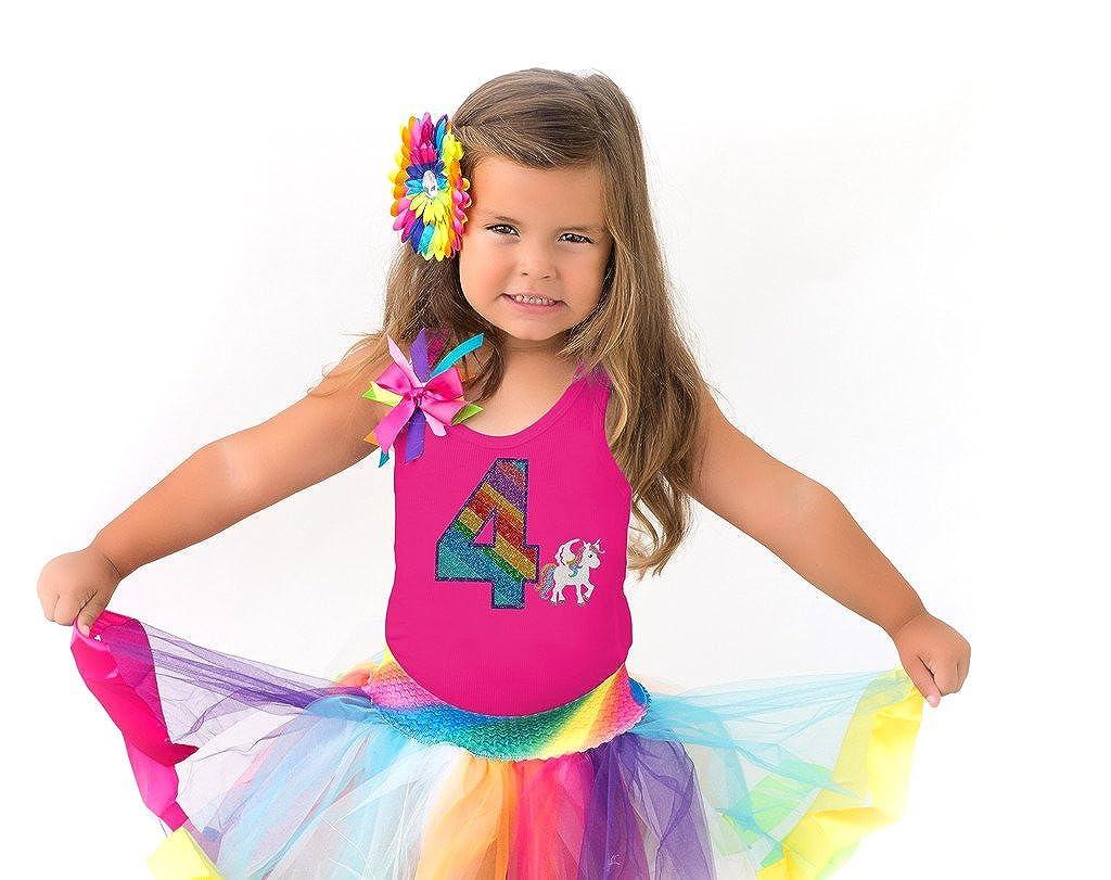 Bubblegum Divas Little Girls 4th Birthday Unicorn Shirt Rainbow Tutu Gift Set 4pcs